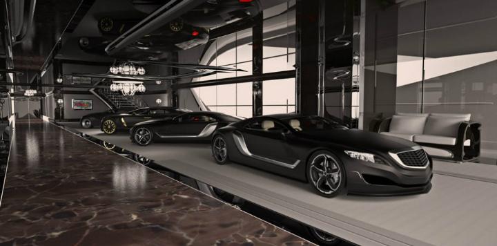 The xhbitionist mega yacht for Garage tony auto