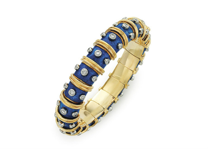 An enamel and diamond bangle bracelet by Jean Schlumberger for Tiffany & Co. at Christie's semi precious stones Semi Precious Stones Win Big Prices at December Jewelry Auctions An enamel and diamond bangle bracelet by Jean Schlumberger for Tiffany Co