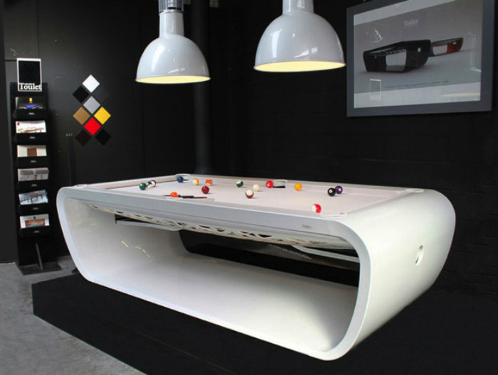 White Snooker Table with Modern Design - gaming room  gaming room 20 Playing Tables For a Luxury Gaming Room White Snooker Table with Modern Design