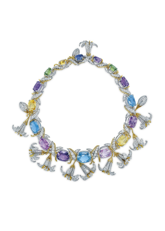 multigem gold and platinum Jasmin necklace by Jean Schlumberger for Tiffany & Co. at Christie's semi precious stones Semi Precious Stones Win Big Prices at December Jewelry Auctions multigem gold and platinum Jasmin necklace by Jean Schlumberger for Tiffany Co