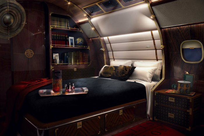 of skyacht one private jet master bedroom of skyacht one private jet