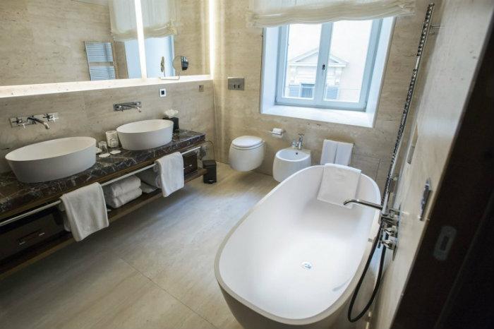 Exclusive Bathroom in Private Suite fendi The Renovated Luxury Palazzo Fendi in Rome Luxury Bathroom in Private Suite
