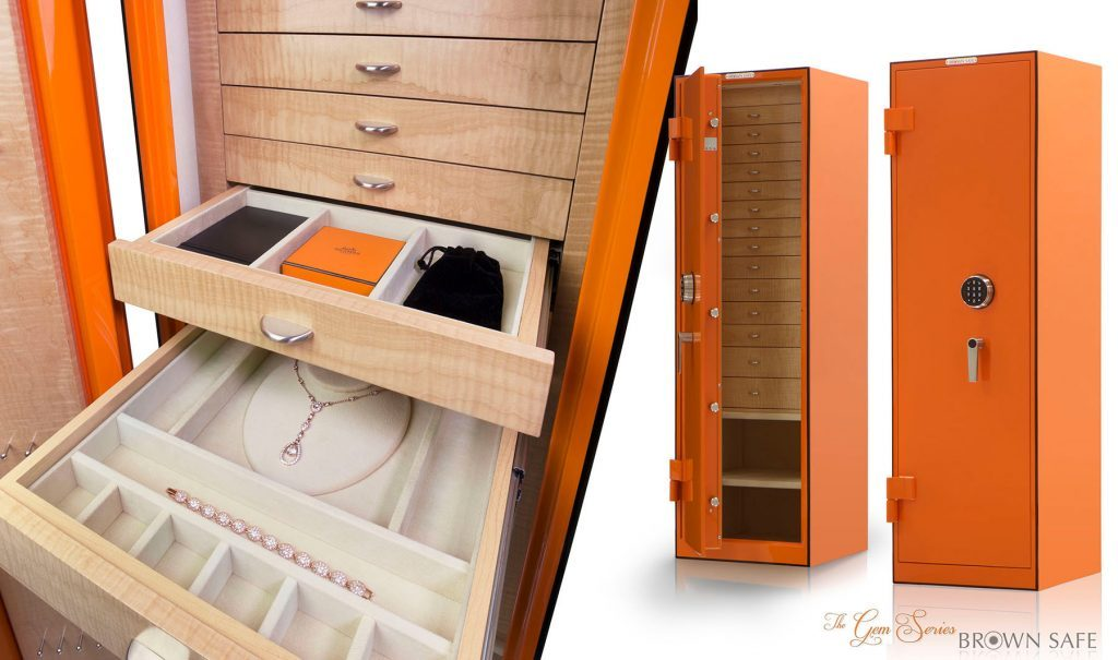 Brown Safes: The Perfect Blend Brown Safes Brown Safes: The Perfect Blend Gem Safe Custom Hermes paint finish jewelry safe