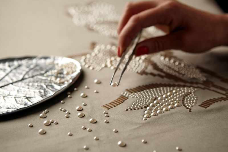 london craft week London Craft Week 2019: Celebrating Authenticity and Creativity Hand applied bead work Aiveen Daly e1524835593840