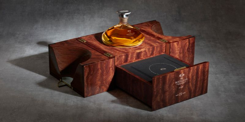 macallan Macallan 72 Years Old – Meet This Exclusive and Rare Whiskey MAC 2018 72 Years Old in Lalique Genesis Decanter box open drawer open angle 800x400 Copy