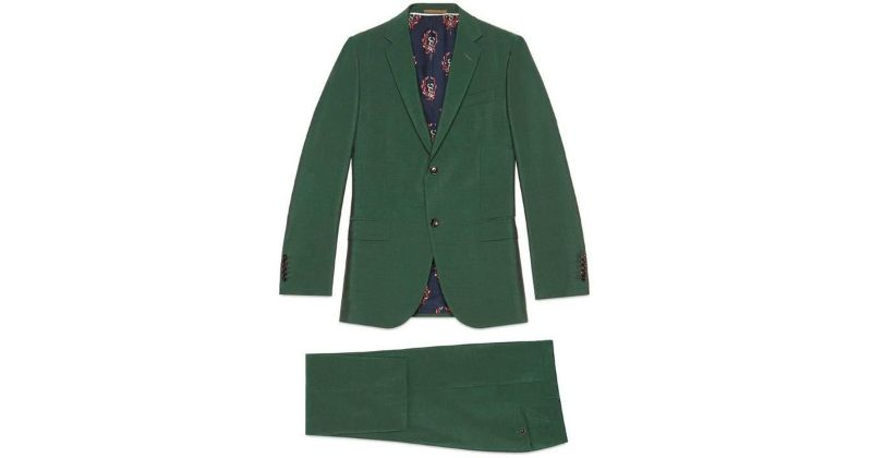 modern suits Men's Fashion: Discover Colorful and Modern Suits by Luxury Brands gucci Dark Green Monaco Wool Mohair Suit